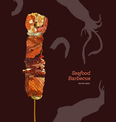 Delicious grilled seafood on a skewer engraving vector