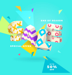 End of season sale white sign vector