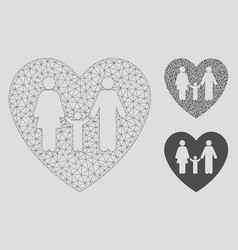 family love heart mesh network model and vector image