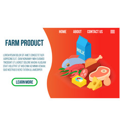 farm product concept banner isometric style vector image