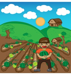 Farmer and watermelon a harvest cartoon vector image
