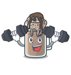 Fitness milkshake character cartoon style vector