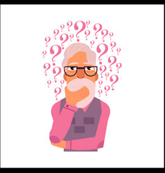 flat old elderly man thinking portrait vector image