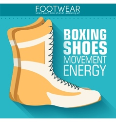 Flat sport boxing shoes background concept vector image