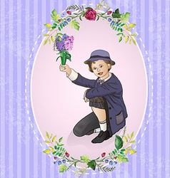 Floral and decorative border with small child vector