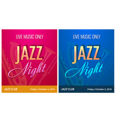 flyer for jazz night party - banner template vector image
