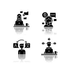 Freelance professions data entry jobs drop shadow vector