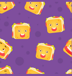 funny smiling sandwich character seamless pattern vector image