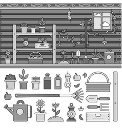 garden equipment line flat line monochrome vector image