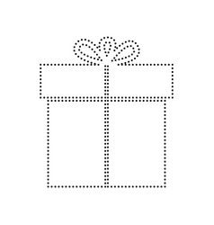 gift sign black dotted icon on white vector image
