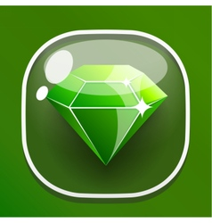 Glass button diamond for game interface vector