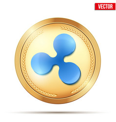Gold coin with ripple cryptocurrency sign vector