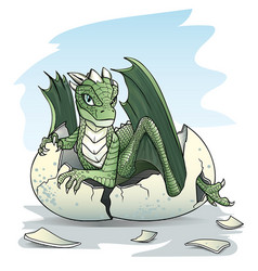 green badragon piping from an egg vector image