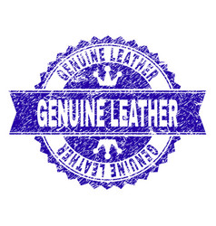 Grunge textured genuine leather stamp seal with vector