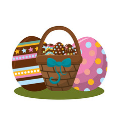 Hamper with ribbon bow and eggs easter inside vector