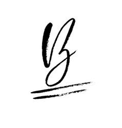 hand painted letter b dry brush modern lettering vector image