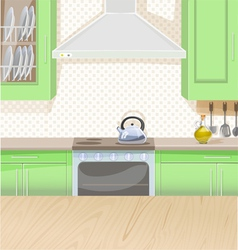 Interior of kitchen with stove and cupboards vector