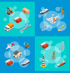 isometric marine logistics and seaport set vector image