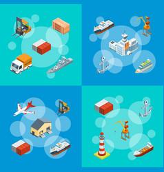 isometric marine logistics and seaport set vector image