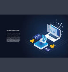 isometric return on investment in a laptop vector image