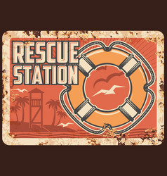 lifeguard rescue station metal rusty plate beach vector image