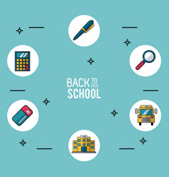Light blue background poster of back to school vector