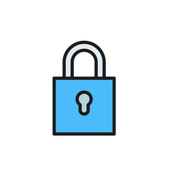 lock flat color icon isolated on white vector image