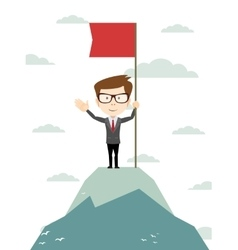 Man on the top holding flag vector