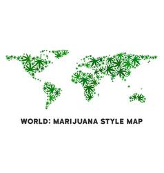 Marijuana mosaic world map vector