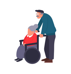 mature couple on a walk care of a disabled person vector image