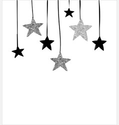 Merry christmas greeting card with hanging stars vector