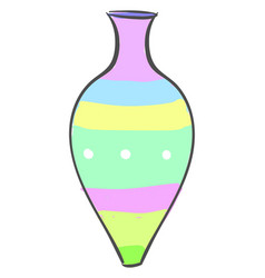 multicolor vase on white background vector image