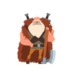 Muscular viking warrior character in animal skin vector
