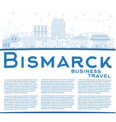 outline bismarck north dakota city skyline vector image