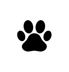 paw print icon black on white background vector image