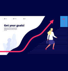 personal growth woman walking steps to success vector image