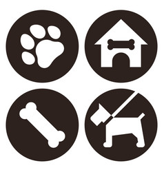 pets icon set isolated on white background vector image