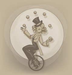 Pinup equilibrist juggling balls vector