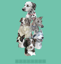 Postcard with dogs of different breeds-6 vector