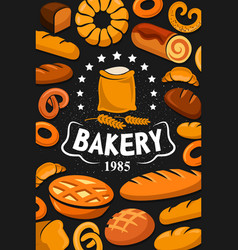 premium quality bakery shop bread and desserts vector image