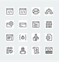 programming and coding icon set vector image