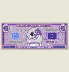 purple banknote happy new year 2020 euros vector image