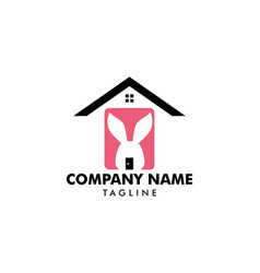 Rabbit and house logo concept icon template vector