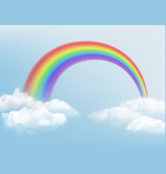 rainbow in sky weather background with clouds vector image