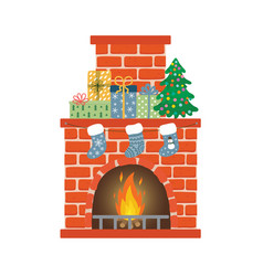 red brick fireplace with socks christmas tree vector image
