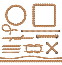 rope brown set marine cord ropes realistic vector image