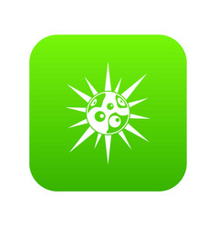 round cell virus icon digital green vector image