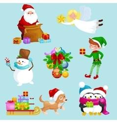 Santa Claus sack full of giftsangel wings magic vector image