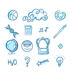 School doodle icon set vector