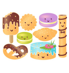 Set of cute sweets croissant pretzel cupcake vector